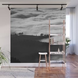 Misty Foggy Minimalist Landscape Photography Black & White Mountain Forest Wall Mural