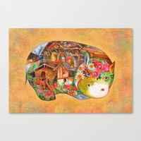 hippo Canvas Prints featuring hippo by oxana zaika