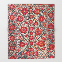 Kermina Suzani Uzbekistan Embroidery Print Throw Blanket