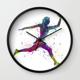 Woman runner running jumping Wall Clock