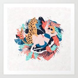 Yellow Hair Tropical Girl with Cheetah Art Print