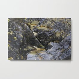 Reflective Rock Surface with Lichen Texture Metal Print