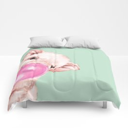 Bubble Gum Sneaky Baby Pig in Green Comforters