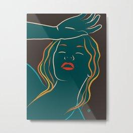 Swoon - Lady in Teal (minimal line art) Metal Print