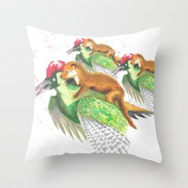 Weasel Riding Woodpecker Gang Throw Pillow