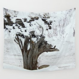 Stumpy and the Rock Wall in Winter White Wall Tapestry
