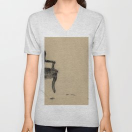 Departed Black Pastel Drawing of Chair Unisex V-Neck