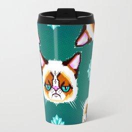 Grumpy Cat Geometric Pattern Travel Mug