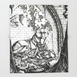 Lovers in the ruins Throw Blanket