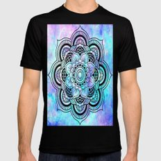mandala pink lavender aqua galaxy space Black Mens Fitted Tee MEDIUM