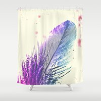 feather Shower Curtains featuring Feather  by Monika Strigel