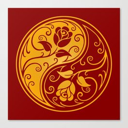 Yellow and Red Yin Yang Roses Canvas Print