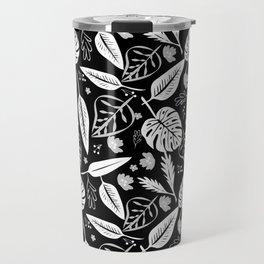 Autumn leaves pattern black Travel Mug