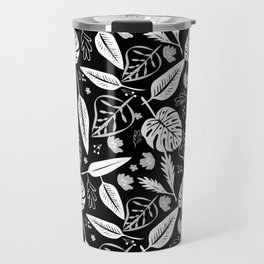 Autumn leaves pattern black Travel Mug