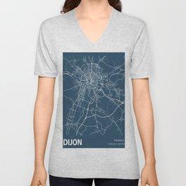 Dijon Blueprint Street Map, Dijon Colour Map Prints Unisex V-Neck