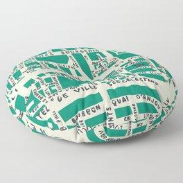 PARIS MAP GREEN Floor Pillow