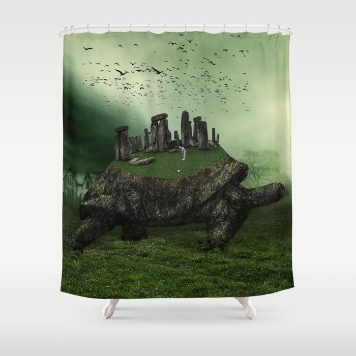 Druid Golf Shower Curtain By Marianvoicu