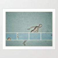 running Art Prints featuring Running by Ukridge