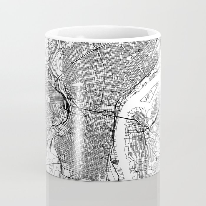 Philadelphia White Map Kaffeebecher