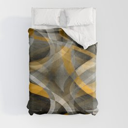 Eighties Retro Mustard Yellow and Grey Abstract Curves Comforters