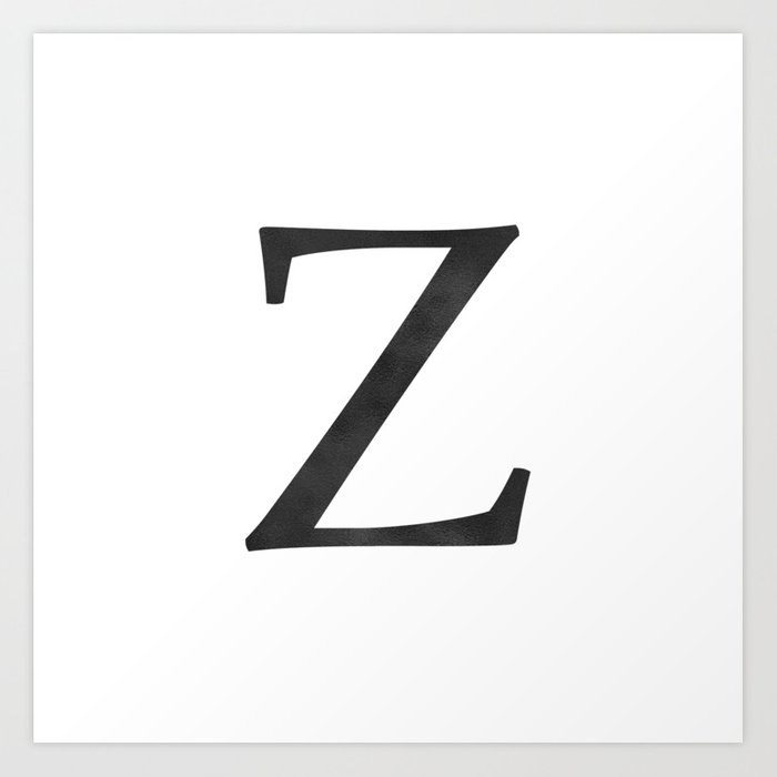 Letter Z Initial Monogram Black And White Art Print By