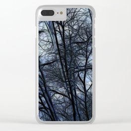 Twilight Snowscape With Icicles Clear iPhone Case