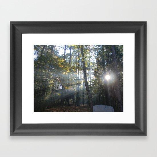 Sun Peaking through Woods. Framed Art Print