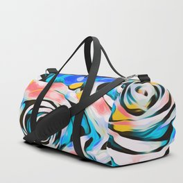 rose texture abstract in blue pink yellow Duffle Bag