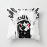 native american Throw Pillows featuring Native American by Maioriz Home