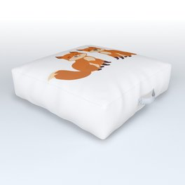 cute fox, boy and girl with funny face and fluffy tails on white background Outdoor Floor Cushion