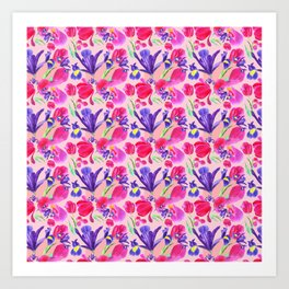flowers irises and tulips pattern on a pink background Art Print