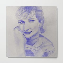 Modern woman in blue Metal Print
