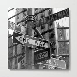 Street sign in New York City, black and white Metal Print