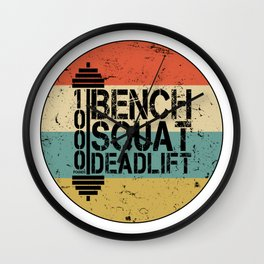 1000 Pounds Bench Squat Deadlift Powerlift Club Fitness Bodybuilder Bodybuilding Vintage Retro Wall Clock