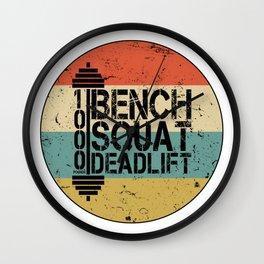 1000 Pounds Bench Squat Deadlift Powerlift Club Fitness Bodybuilder Bodybuilding Vintage Retro Wall Clock