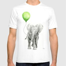 Baby Elephant Watercolor Green Balloon Neutral Color Nursery Decor MEDIUM White Mens Fitted Tee