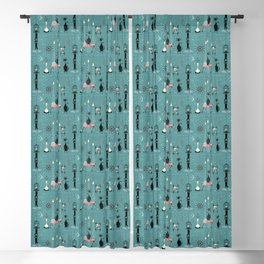 Mid Century Kitty Mischief - ©studioxtine Blackout Curtain