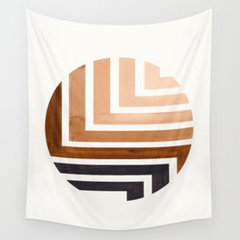 Raw Umber Circle Round Framed Mid Century Modern Aztec Geometric Pattern Maze Wall Tapestry