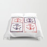 anchors Duvet Covers featuring Abundant Anchors by Isobel Woodcock Illustration