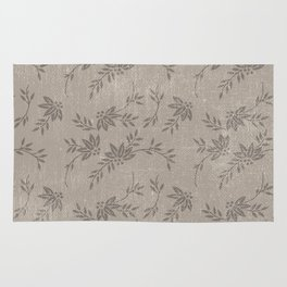 Abstract vintage chic brown cream floral illustration Rug