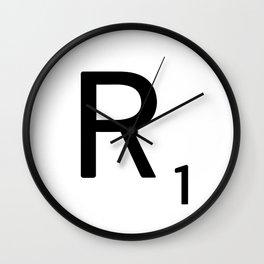 Letter R - Custom Scrabble Letter Tile Art - Scrabble R Initial Wall Clock