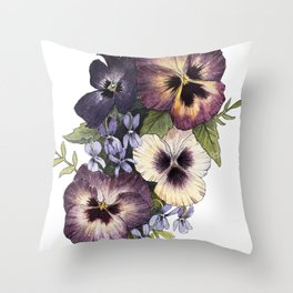 Watercolor Pansy Bouquet Throw Pillow