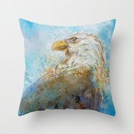 Expressive Bald Eagle Throw Pillow