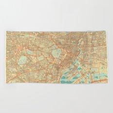 Tokyo Map Retro Beach Towel