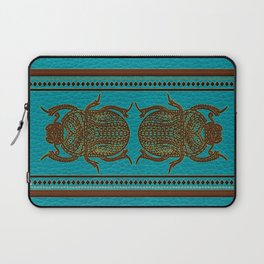 Egyptian Scarab Beetle - Leather & Gold on teal Laptop Sleeve