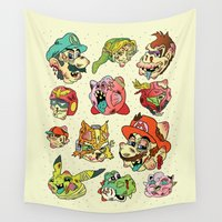 stickers Wall Tapestries featuring Smashed Bros. by Josh Ln