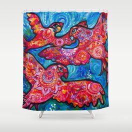 Birds of a feather flock together Shower Curtain