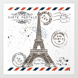 Art hand drawn design with Eifel tower. Old postcard style Art Print