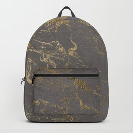Modern Grey cement concrete gold marble pattern Backpack