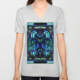 Blue and Aqua Stained Glass Victorian Design Unisex V-Neck